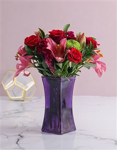 flowers: Mixed Flowers In Purple Vase!