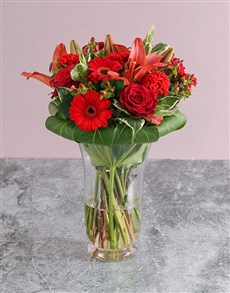 flowers: Mixed Flowes In Hurricane Vase!