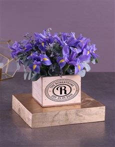 flowers: Blue Irises In Wooden Box!