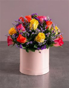flowers: Mixed Roses in Pink Box!