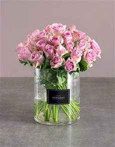 flowers: Lilac Roses In Clear Cylinder Vase!