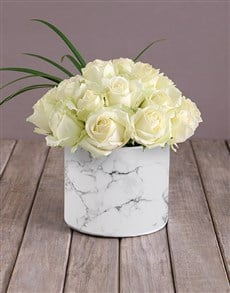 flowers: Star White Roses In Hat Box!
