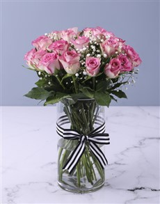 flowers: Pretty In Pink Rose Vase Arrangement!