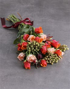 flowers: Cherry Brandy Rose Bouquet!