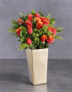 flowers: Cherry Brandy Roses In Tall Vase!