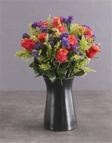 flowers: Cherry Brandy Roses In Ceramic Pot!