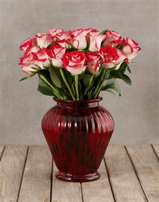 flowers: Classy Roses in Red Vase!