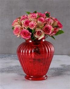 flowers: Classy Roses in Red Vase!