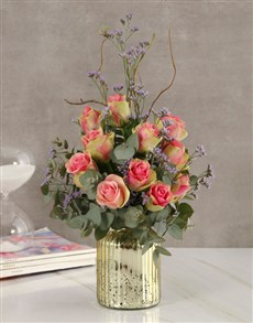 flowers: Classy Roses in Gold Vase!