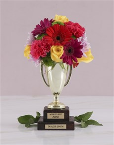 flowers: Personalised Best Aunt Trophy Arrangement!