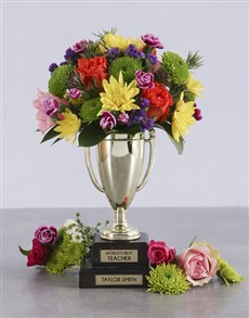 gifts: Personalised Best Teacher Trophy Arrangement!