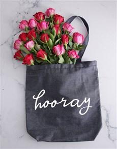flowers: Hooray Denim Tote With Roses!
