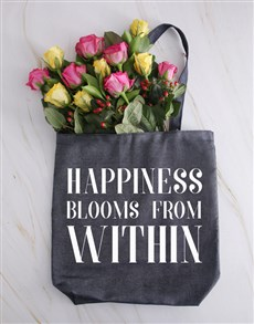 flowers: Roses In A Denim Happiness Tote!