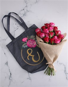 flowers: Personalised Rose Monogram Tote With Roses!