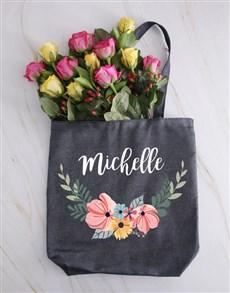flowers: Personalised Roses In A Denim Tote!