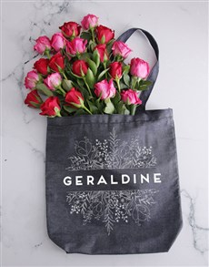flowers: Personalised Botanical Denim Tote With Roses!