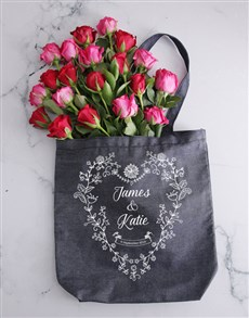 flowers: Personalised Couples Denim Tote With Roses!