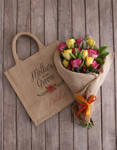 gifts: Personalised Mom Of The Groom Roses In A Tote!