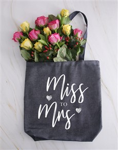 flowers: Miss To Mrs Roses In A Denim Tote!