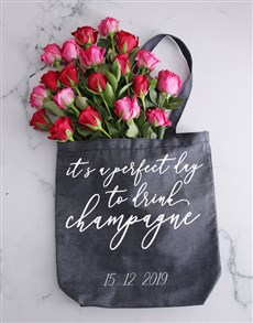 flowers: Personalised Champagne Denim Tote With Roses!