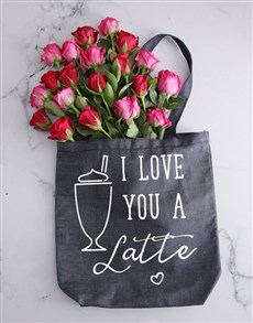 flowers: Love You A Latte Denim Tote With Roses!
