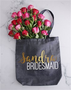 flowers: Personalised Bridesmaid Denim Tote And Roses!