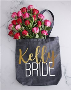 flowers: Personalised Bride Denim Tote With Roses!