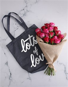 flowers: Lots Of Love Denim Tote With Roses!