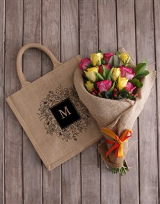 gifts: Personalised Monogram Tote With Roses!