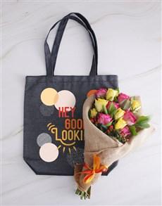 flowers: Good Looking Denim Tote With Roses!