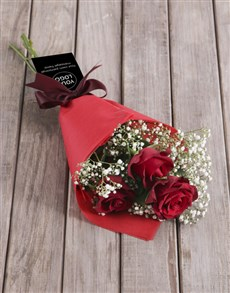 flowers: Red Rose Bouquet With Logo!