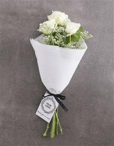 flowers: White Rose Bouquet With Logo!