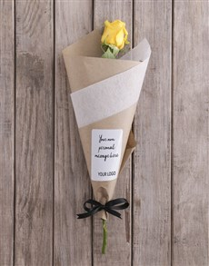 flowers: Yellow Rose Cone With Logo!