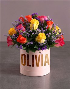 flowers: Personalised Mixed Flowers In Hat Box!