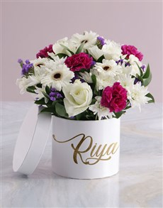 flowers: Personalised On My Mind Mixed Flowers Hat Box!