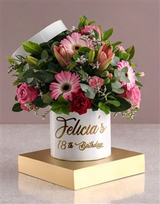 flowers: Personalised Birthday Mixed Flowers In Hat Box!
