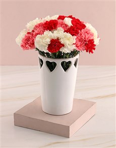 flowers: Cone Heart Carnation Vase!