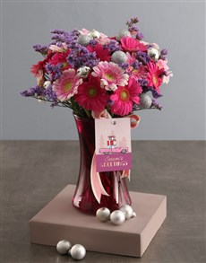 flowers: Seasons Greetings Gerbera In Pink Vase!