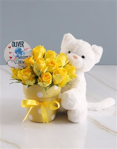 flowers: Radiant Yellow Rose And Teddy Delight!