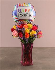 gifts: Birthday Bunch Of Colourful Roses!