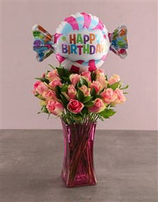 gifts: Birthday Cerise Roses In Pink Vase!