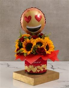 flowers: Romantic Sunflower and Emoji Balloon Hamper!