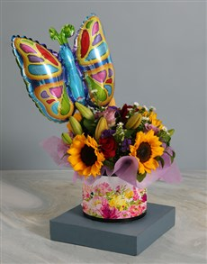gifts: Sunflower and Butterfly Balloon Floral Hamper!