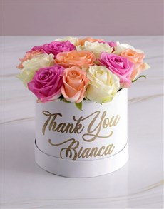 flowers: Personalised Thanking You Mixed Flowers Hat Box!