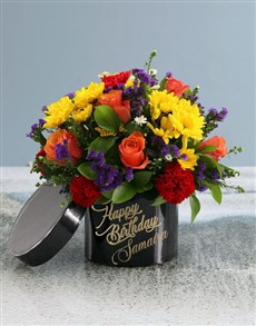 flowers: Personalised Happy Birthday Mixed Flowers Hat Box!
