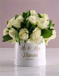 flowers: Personalised Mr And Mrs Mixed Flowers Hat Box!