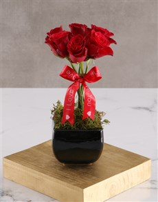 flowers: Red Rose Topiary Tree In Black Vase!