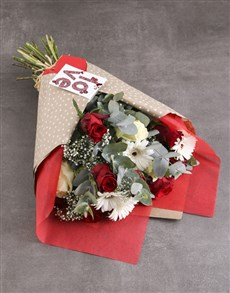 flowers: Love Mixed Roses In Red Wrapping Paper!