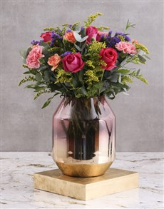 flowers: Vibrant Mixed Blooms In Amara Vase!