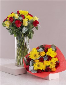 gifts: Radiant Red and Yellow Mixed Flowers!